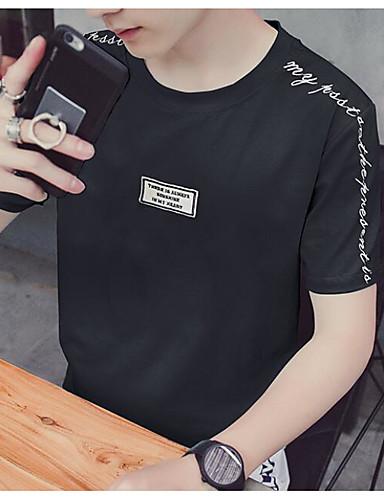 남성용 프린트 문자 라운드 넥 티셔츠 스포츠 면