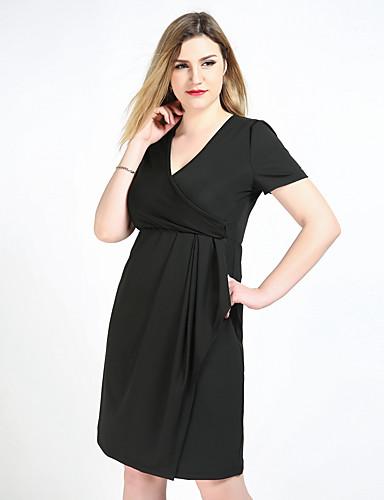 fd54e92557e Women s Plus Size Party   Daily Vintage Shift   Sheath   Tunic Dress - Solid  Colored Ruched V Neck Black XXXXL XXXXXL XXXXXXL