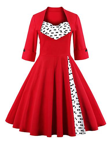 Mulheres Tamanhos Grandes Festa Vintage / Sofisticado Manga Alargamento Algodão Bainha Vestido Decote Quadrado Altura dos Joelhos Vermelho