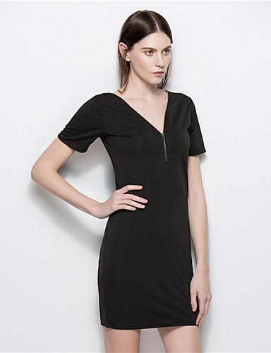 여성 칼집 리틀블랙 드레스 일상 데이트 빈티지 캐쥬얼 솔리드,V 넥 미니 짧은 소매 면 폴리에스테르 여름 높은 밑위 약간의 신축성 얇음