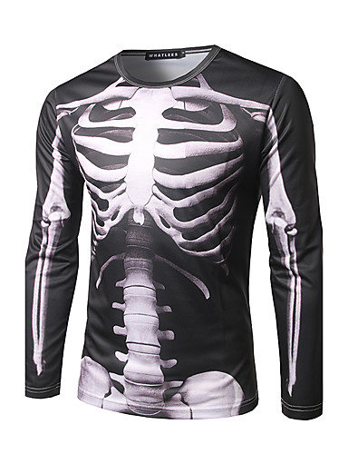 cheap Men's Tops-Men's Street chic T-shirt - Skull Print Round Neck / Long Sleeve