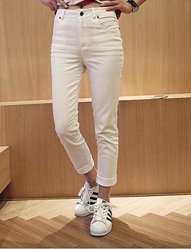 Dámské Jednoduchý Není elastické Džíny Kalhoty Vypasovaný High Rise Jednobarevné