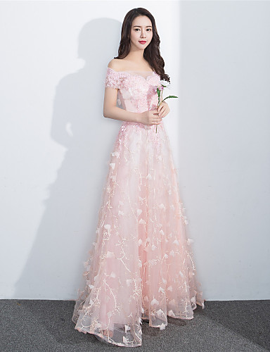 A-Linie Bateau Hals Boden-Länge Spitze Formeller Abend Kleid mit Perlenstickerei durch Yuanmeng
