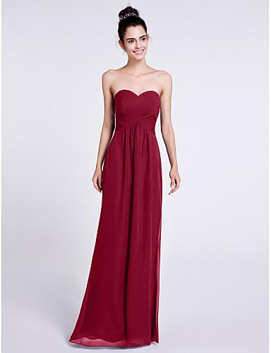 Sheath / Column Sweetheart Neckline Floor Length Chiffon Bridesmaid Dress with Criss Cross by LAN TING BRIDE®