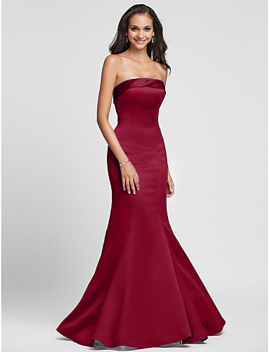 Mermaid / Trumpet Strapless Floor Length Satin Bridesmaid Dress with Side Draping by LAN TING BRIDE®