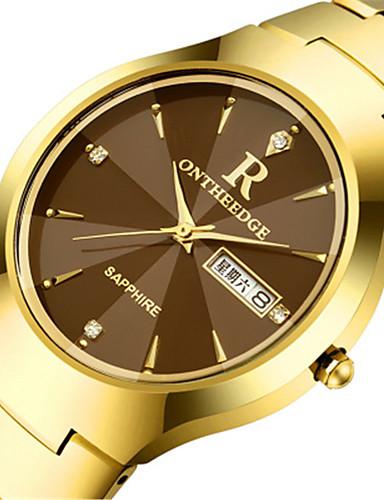 Homens Relógio de Pulso Calendário Lega Banda Amuleto / Fashion Preta / Prata / Dourada