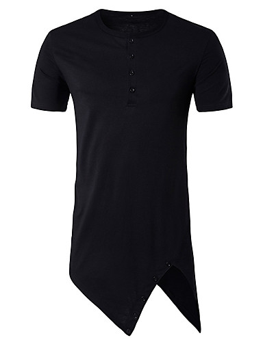 남성 솔리드 라운드 넥 짧은 소매 티셔츠,심플 데이트 캐쥬얼/데일리 면 봄 여름 얇음