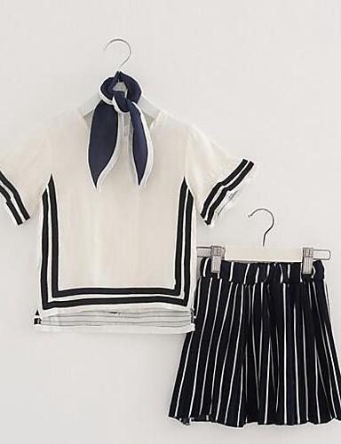 Mädchen Sets Streifen Baumwolle Leinen Sommer Kurzarm Kleidungs Set