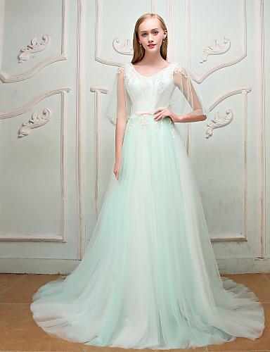 Linha A Princesa Decote V Cauda Corte Renda Cetim Tule Festa de Noivado Ensaio de Casamento Evento Formal Festa de Casamento Vestido com