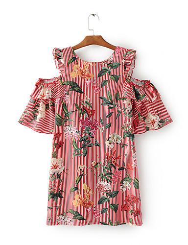 Damen Lose Etuikleid T Shirt Kleid-Ausgehen Lässig/Alltäglich Einfach Street Schick Gestreift Stickerei Rundhalsausschnitt Übers Knie
