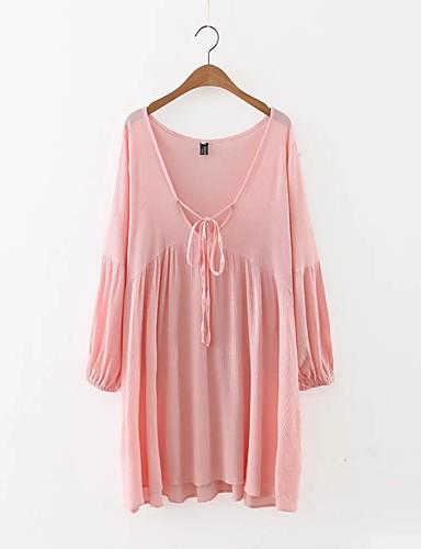 Damen Lose Etuikleid Kleid Einfach Street Schick Solide Tiefes V Knielang Langarm Seide Baumwolle Sommer Herbst Mittlere Hüfthöhe
