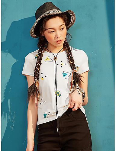 Naiset Lyhythihainen Pyöreä kaula-aukko Puuvilla Yksinkertainen Päivittäin Kausaliteetti T-paita,Kuvio