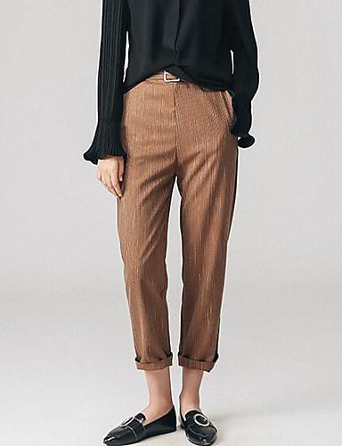 Dámské Jednoduchý Mikro elastické Oblek Kalhoty Rovné Vysoký pas Jednobarevné
