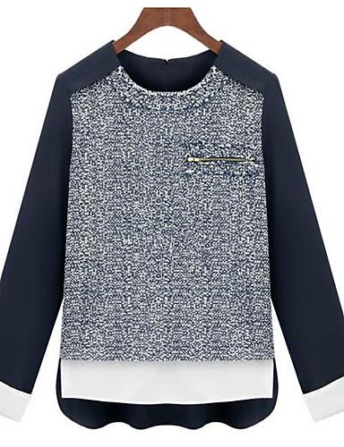 Damen Druck Einfach Lässig/Alltäglich T-shirt,Rundhalsausschnitt Herbst Langarm Baumwolle Undurchsichtig