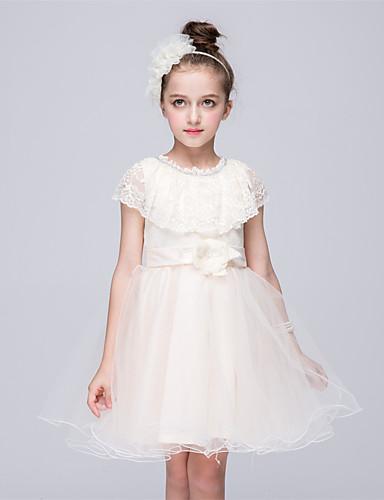Prinzessin Knie-Länge Blumenmädchenkleid - Tüll Ärmellos Schmuck mit Schleife Satin Schleife Spitze Perlen Verzierung durch Bflower