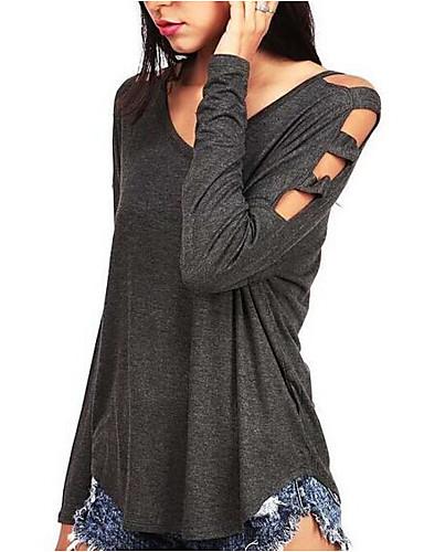 Damen Solide Sexy Einfach Ausgehen Lässig/Alltäglich T-shirt,V-Ausschnitt Frühling Sommer Langarm Polyester Mittel