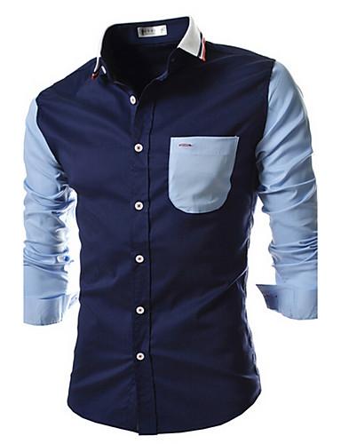 Men's Cotton Slim Shirt - Color Block Houndstooth