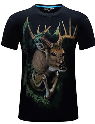 Herrn Solide Übergrössen T-shirt, Rundhalsausschnitt Druck Baumwolle