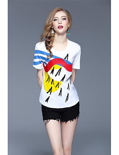 Damen Druck Einfach Street Schick Lässig/Alltäglich Sport Urlaub T-shirt,Rundhalsausschnitt Frühling Sommer Kurzarm Baumwolle Dünn