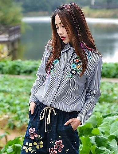 Damen Blumen Stickerei Einfach Lässig/Alltäglich Hemd,Ständer Langarm Baumwolle Undurchsichtig