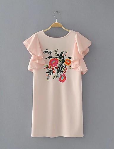 Damen Lose Etuikleid Kleid-Ausgehen Lässig/Alltäglich Einfach Street Schick Einfarbig Rundhalsausschnitt Übers Knie Ärmellos Seide