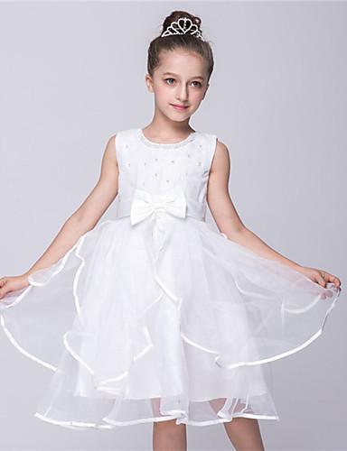 Princess Ke kolenům Šaty pro květinovou družičku - Satén Tyl Bez rukávů Klenot s Mašle Stuha Volán podle Bflower