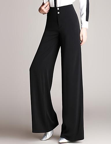 Mulheres Clássico Perna larga Calças - Côr Sólida Botão Preto