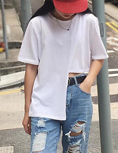 Damen Solide Einfach Lässig/Alltäglich T-shirt,Rundhalsausschnitt Frühling Sommer Kurzarm Baumwolle Dünn