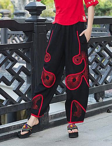 Dámské Jednoduchý Mikro elastické Volné Kalhoty Volný Mid Rise Pléd