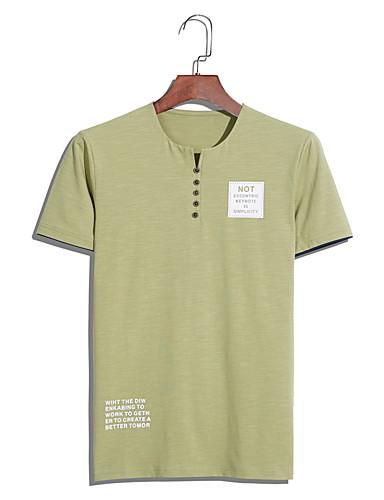 Herren Solide Buchstabe Einfach Übergröße T-shirt,Rundhalsausschnitt Sommer Kurzarm Baumwolle Mittel
