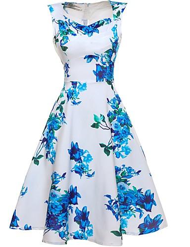 Mulheres Feriado / Praia Vintage Algodão Bainha / balanço Vestido Floral Decote V Altura dos Joelhos
