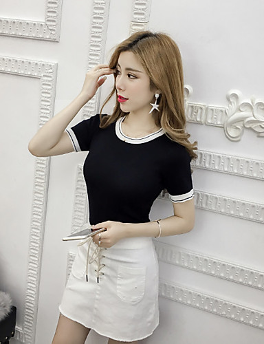 Dámské Jednobarevné Jednoduché Tričko Bavlna Kulatý Krátký rukáv