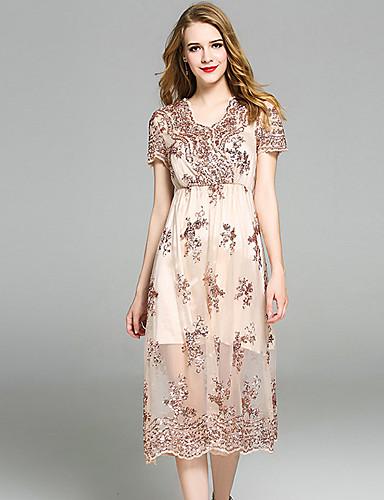 Damen Freizeit Anspruchsvoll A-Linie Hülle Kleid - Pailletten Gitter, Solide Stickerei Midi V-Ausschnitt