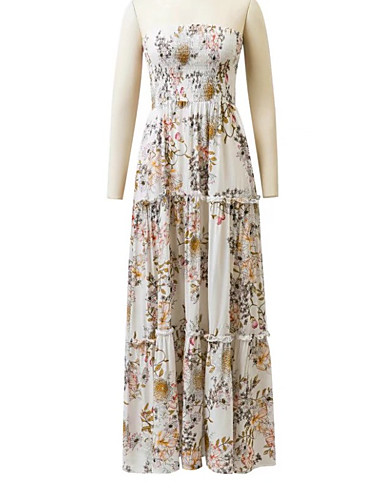 Damen A-Linie Lose Etuikleid Kleid Einfach Street Schick Blumen Bateau Maxi Ärmellos Seide Baumwolle Sommer Herbst Mittlere Hüfthöhe