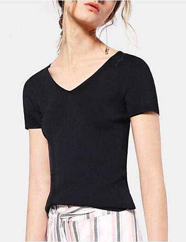 Dámské Jednobarevné Jednoduché Tričko-Jaro Léto Bavlna Akryl Do V Krátký rukáv Neprůhledné