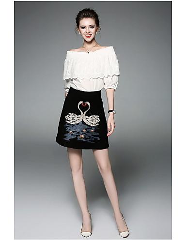 Damen Solide Tiere Moderne Alltag Shirt Rock Anzüge,Rundhalsausschnitt Sommer Kurzarm