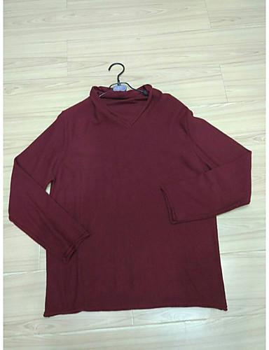 Damen Standard Pullover-Lässig/Alltäglich Einfach Solide V-Ausschnitt Langarm Baumwolle Herbst Mittel Mikro-elastisch