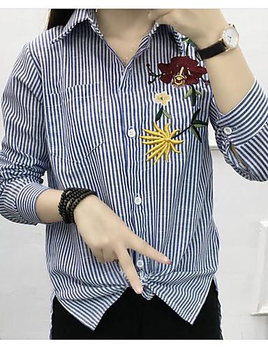 Damen Gestreift Einfach Lässig/Alltäglich Hemd,Ständer Langarm Baumwolle