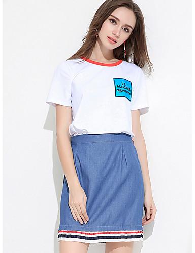 Dámské Jednobarevné Denní Jednoduchý Trička Kalhoty Obleky-Léto Kulatý Krátký rukáv