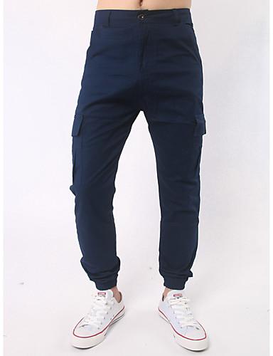 Pánské Aktivní Není elastické Upnuté Aktivní Kalhoty Vypasovaný Mid Rise Jednobarevné