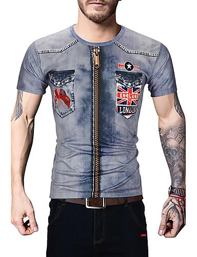Herren Druck Einfach Aktiv Ausgehen Lässig/Alltäglich T-shirt,Rundhalsausschnitt Sommer Kurzarm Baumwolle Undurchsichtig
