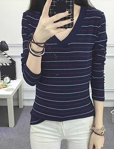 Damen Gestreift Einfach Lässig/Alltäglich T-shirt,V-Ausschnitt Langarm Baumwolle Dünn
