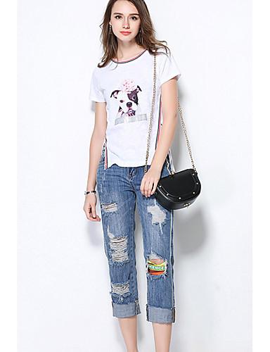Dámské Jednobarevné Denní Jednoduché Tričko Bavlna Kulatý Krátký rukáv