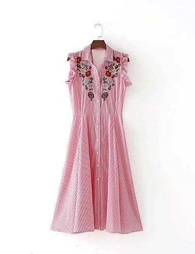 Damen Lose Etuikleid Kleid Einfach Street Schick Gestreift Stickerei Hemdkragen Midi Ärmellos Seide Baumwolle Sommer Herbst Mittlere