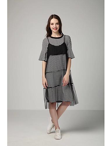 Damen Lose Etuikleid Kleid-Ausgehen Lässig/Alltäglich Einfach Street Schick Gestreift Rundhalsausschnitt Knielang Kurzarm Seide Baumwolle