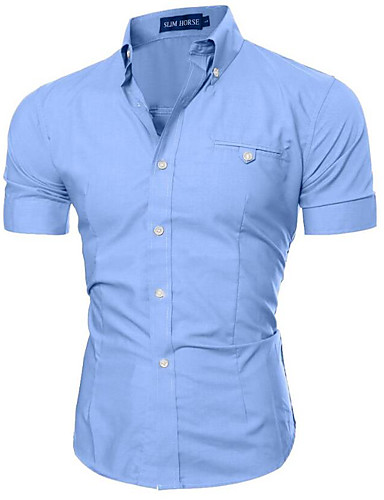 Men's Slim Shirt - Solid Colored Basic Button Down Collar / Short Sleeve