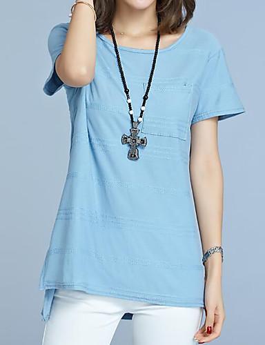 Damen Solide Einfach Lässig/Alltäglich Übergröße T-shirt,Rundhalsausschnitt Sommer Kurzarm Baumwolle Mittel