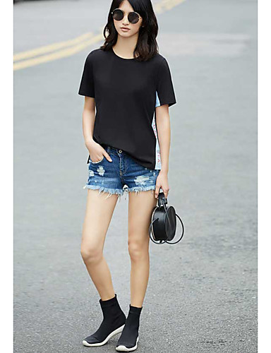 Mulheres Camiseta Simples Sólido