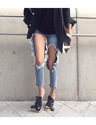 Damen Street Schick Gerade Jeans Hose Solide