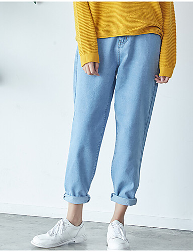 Dámské Retro Mikro elastické Džíny Kalhoty Volné Mid Rise Jednobarevné